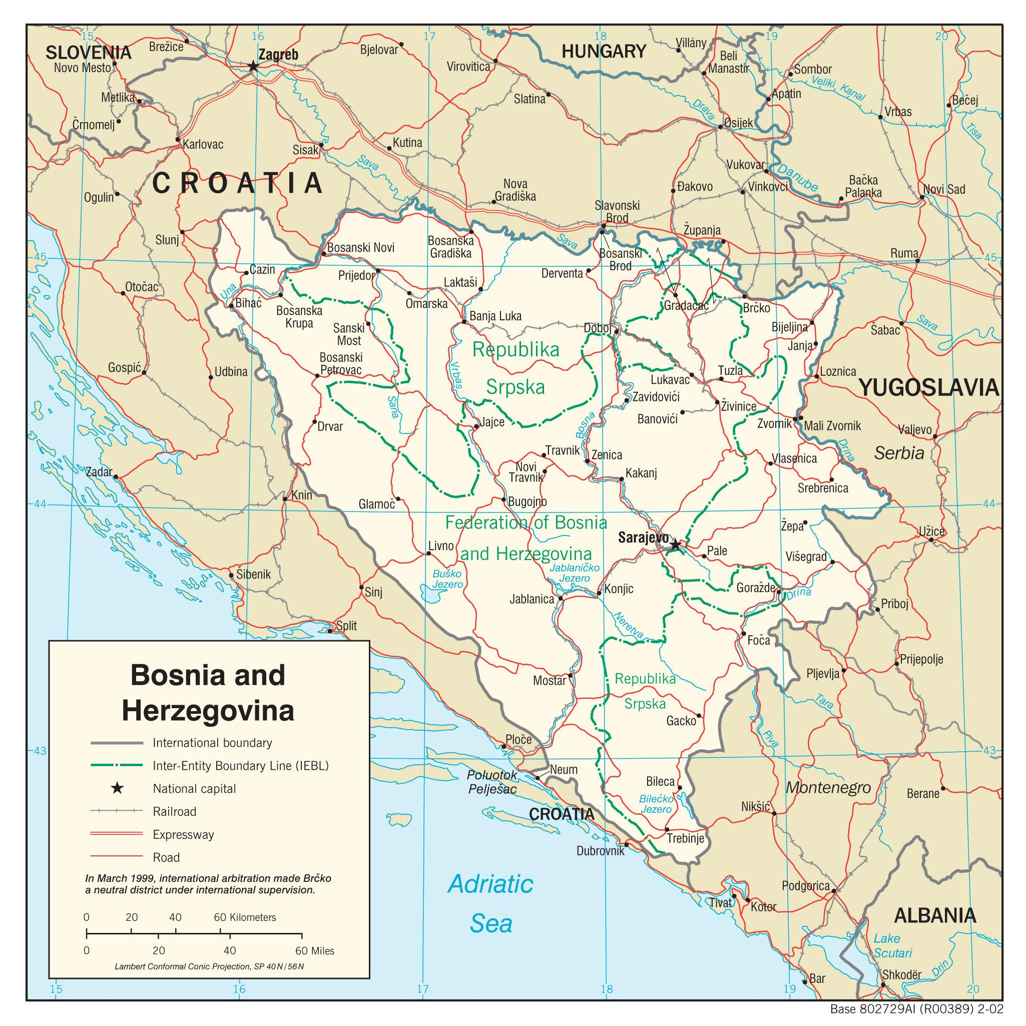 Bosznia Hercegovina Terkep Bosznia Hercegovina Terkepe Del
