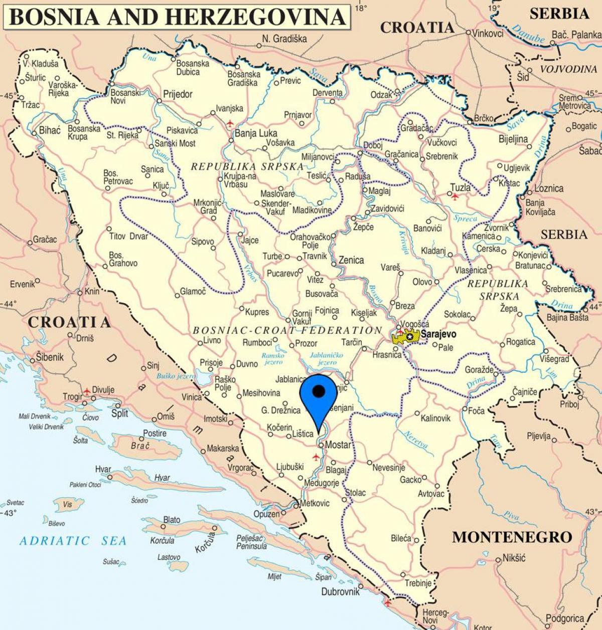 Mostar Bosznia Terkep Terkep Mostar Bosznia Hercegovina Del